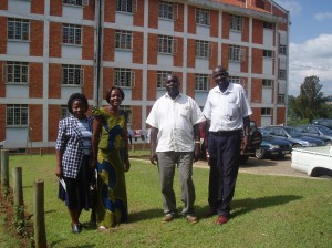 Mr. Olema, project coordinator, Mr. Simon Anguma, Dean of Faculty of Sciences, Mrs Kate Imanirampa, the faculty administrator and Ms Mary Naikumi, lecturer and the project IT focal point